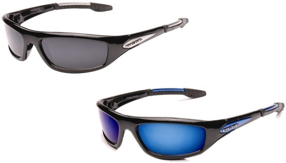 UV400 Eyelevel POLARIZED Bomber Sport Wrap Around Mirror Sunglasses Black Blue